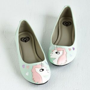 T.U.K. In Love With Unicorn Flats in Mint